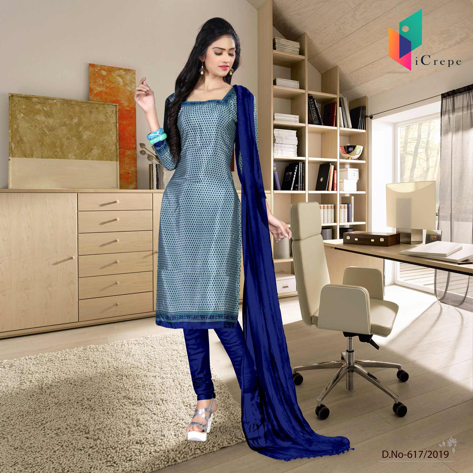 Light blue and blue italian crepe silk institute uniform salwar kameez