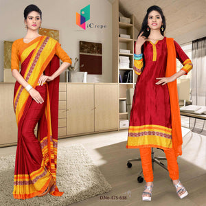 Maroon and orange italian crepe silk staff uniform saree salwar combo