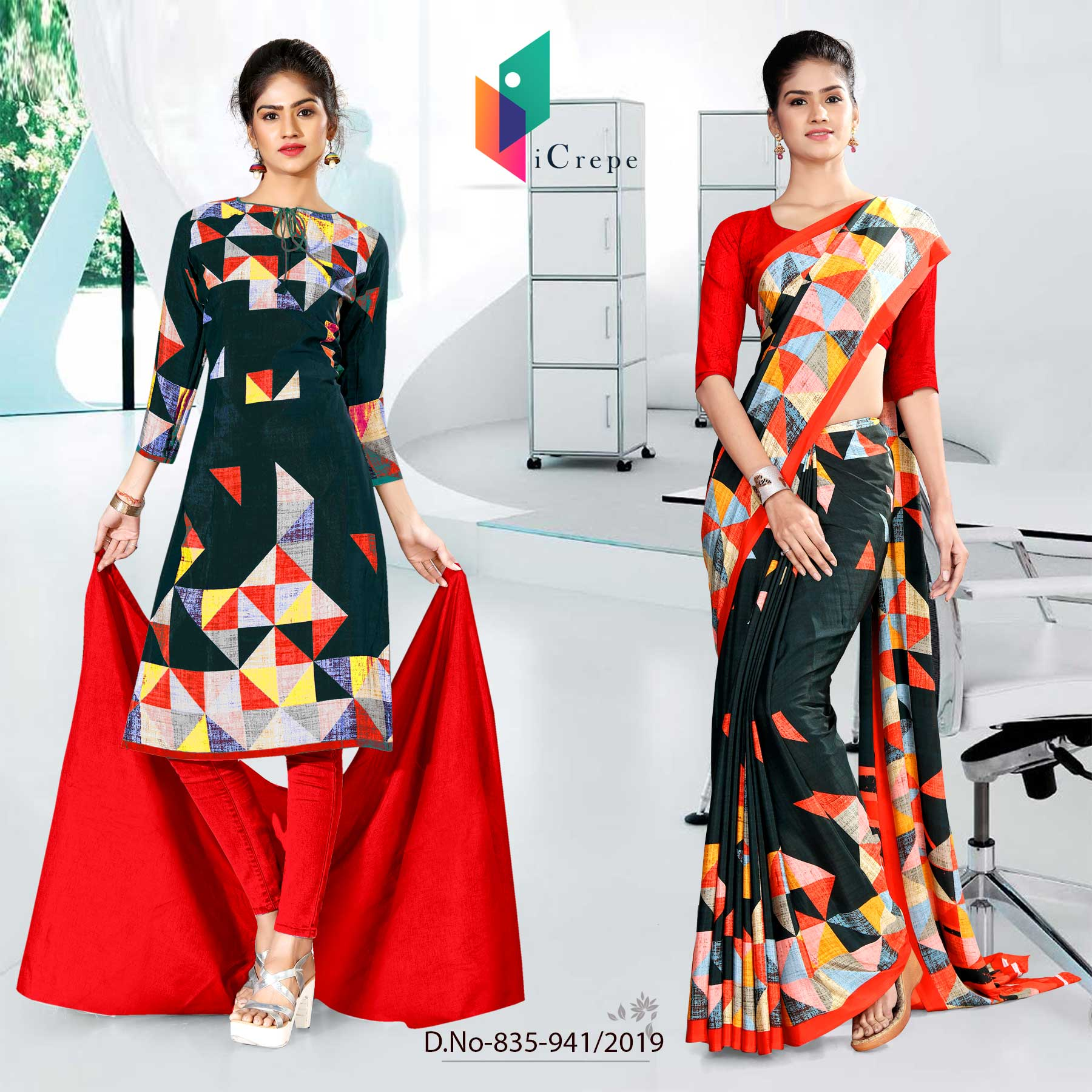 BLACK AND RED ICREPE SILK INSTITUTE UNIFORM SAREE SALWAR COMBO