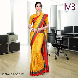 Red and Orange Mulberry silk uniform saree