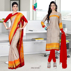 Off white and red italian crepe silk hotel uniform saree salwar combo
