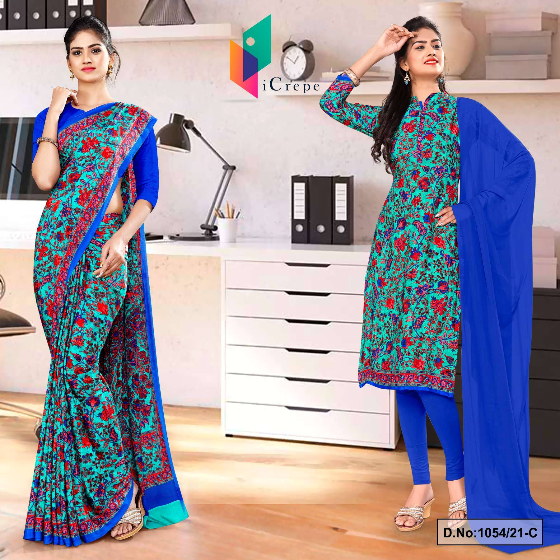 Sea Green Blue Flower Print Premium Italian Silk Crepe Uniform Saree Salwar Combo for Receptionist