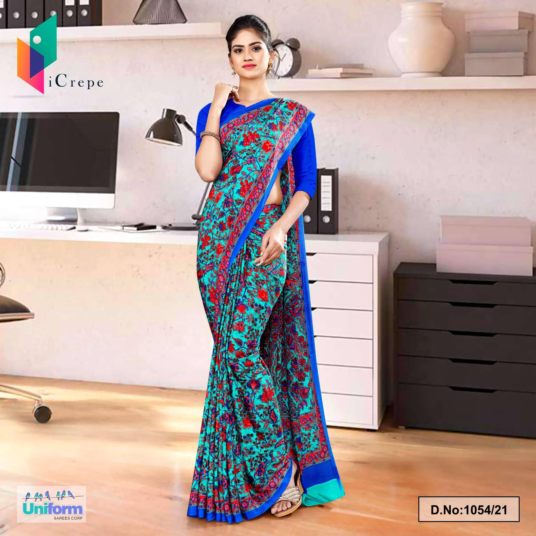 Sea Green Blue Flower Print Premium Italian Silk Crepe Uniform Sarees for Receptionist