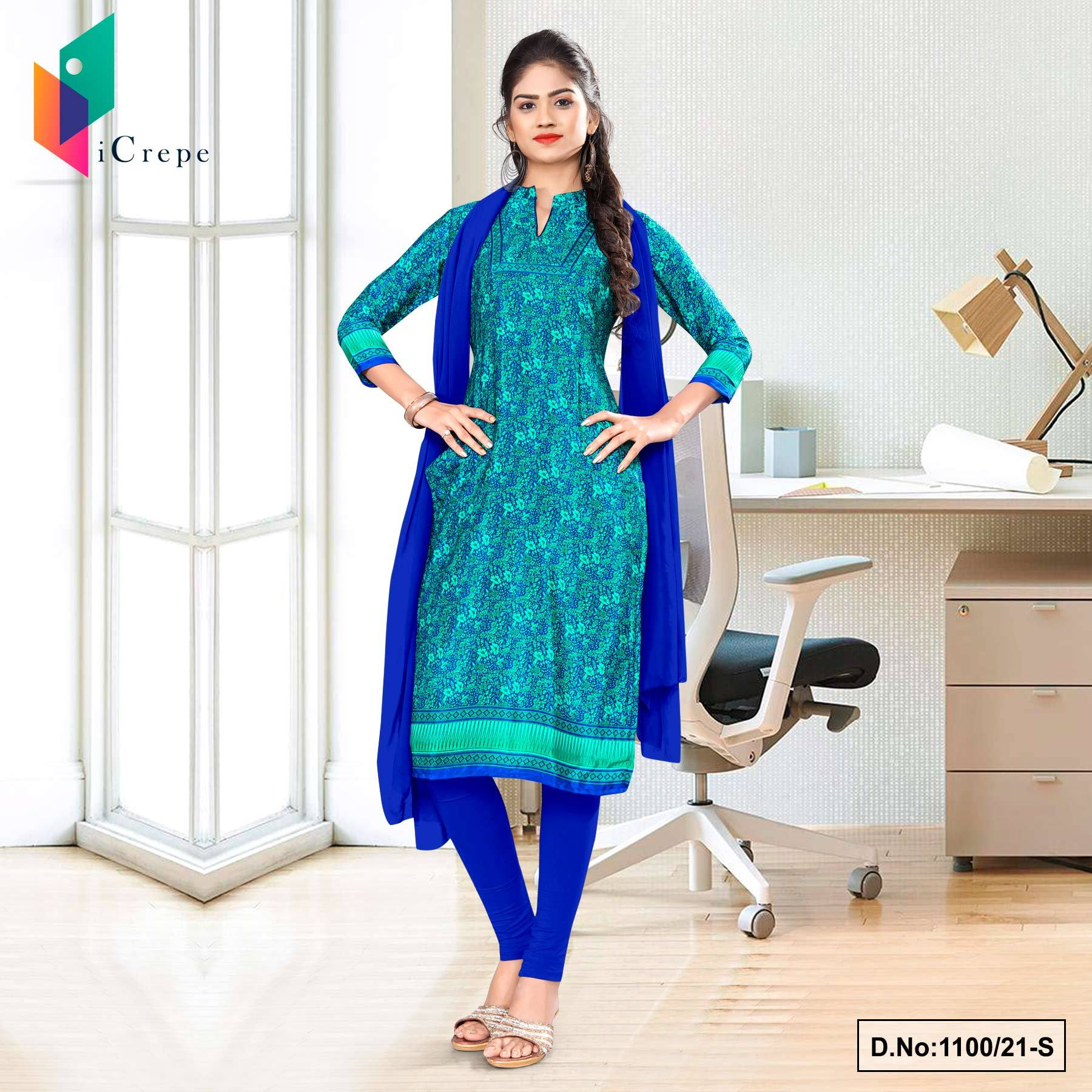 Sea Green Blue Paisley Print Premium Italian Silk Crepe Uniform Salwar Kameez for Office Wear