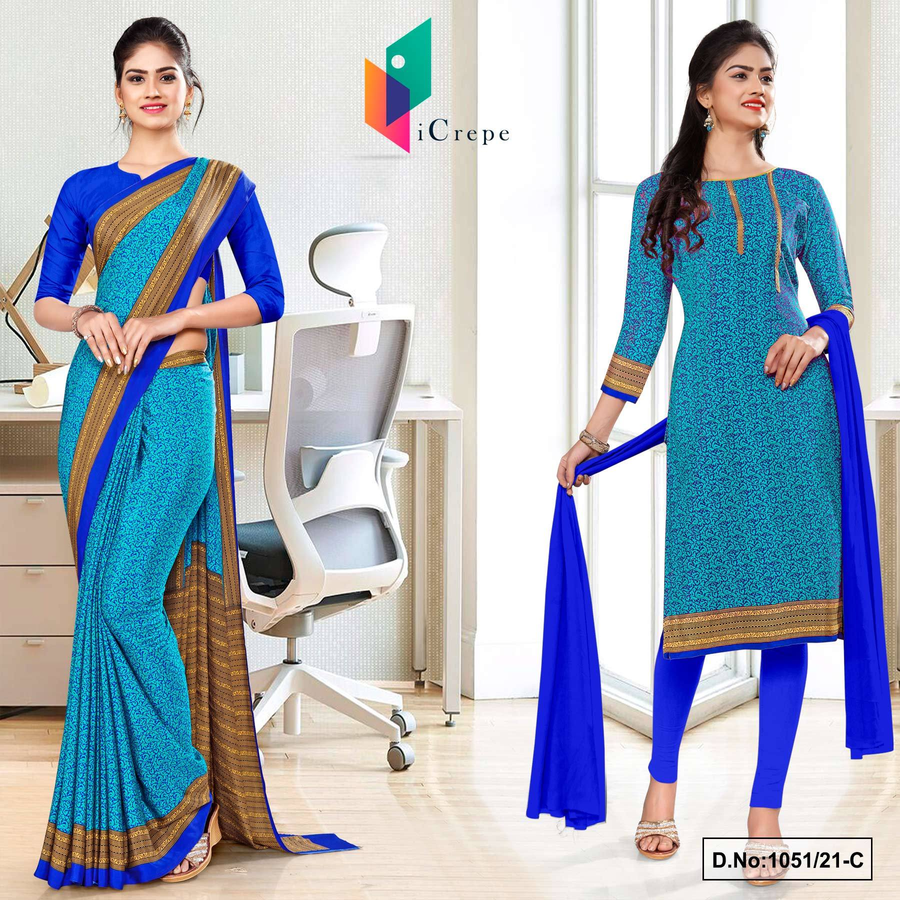Sea Green Blue Paisley Print Premium Italian Silk Crepe Uniform Saree Salwar Combo for Corporate Employees