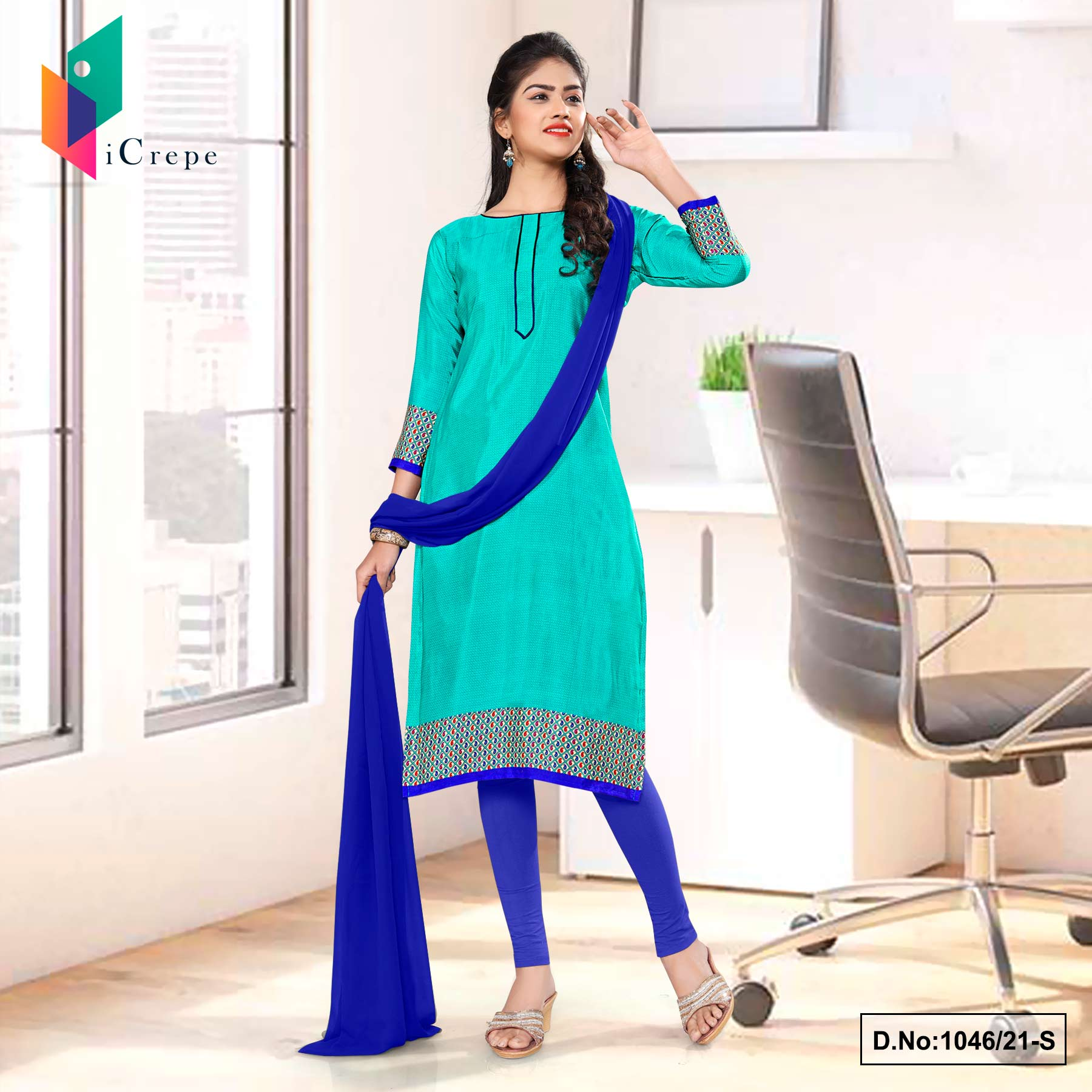 Sea Green Blue Premium Italian Silk Crepe Uniform Salwar Kameez for Hospital Staff