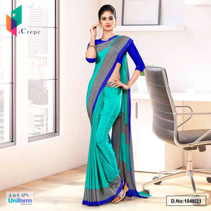 Sea Green Blue Premium Italian Silk Crepe Uniform Sarees for Hospital Staff