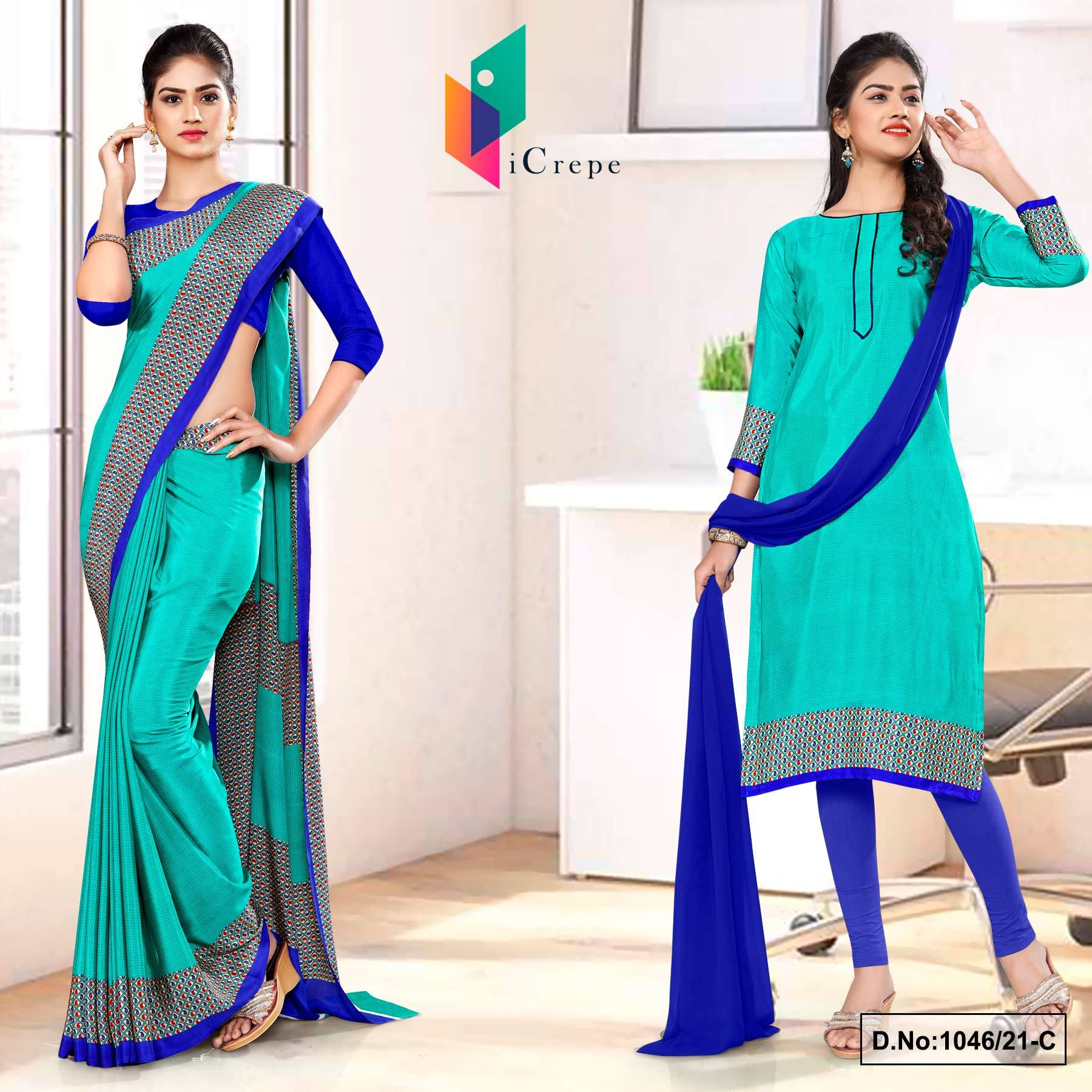 Sea Green Blue Premium Italian Silk Crepe Uniforms Saree Salwar Combo for Hospital Staff