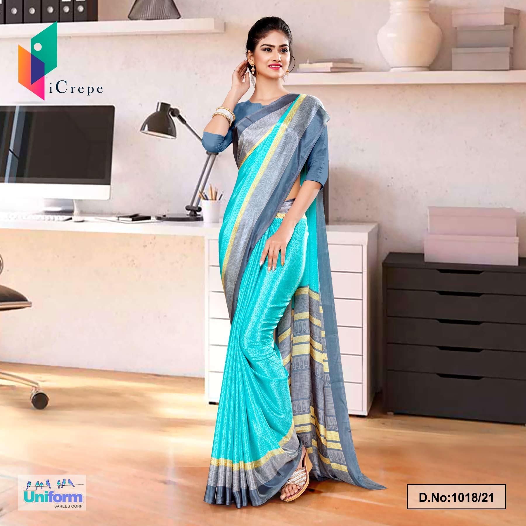 Sea Green Gray Premium Italian Silk Crepe Saree for Annual Function Uniform Sarees