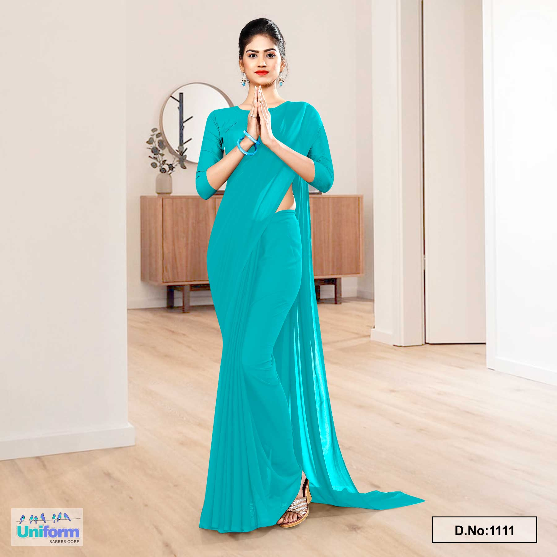 Sea Green Soft Georgette Plain Uniform Sarees For Housekeeping