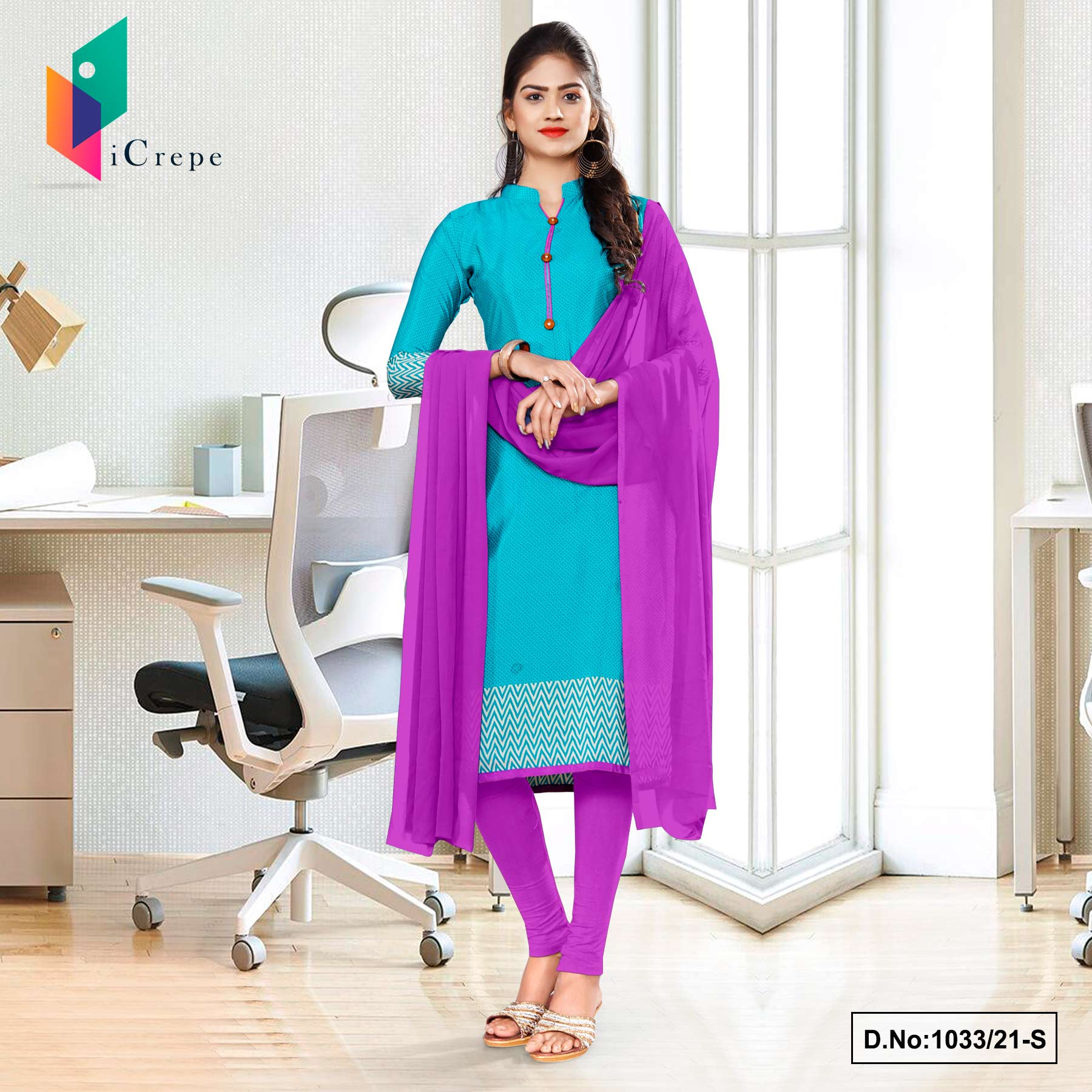 Sea Green lavender Premium Italian Silk Crepe Salwar Combo for Workers Uniform Sarees