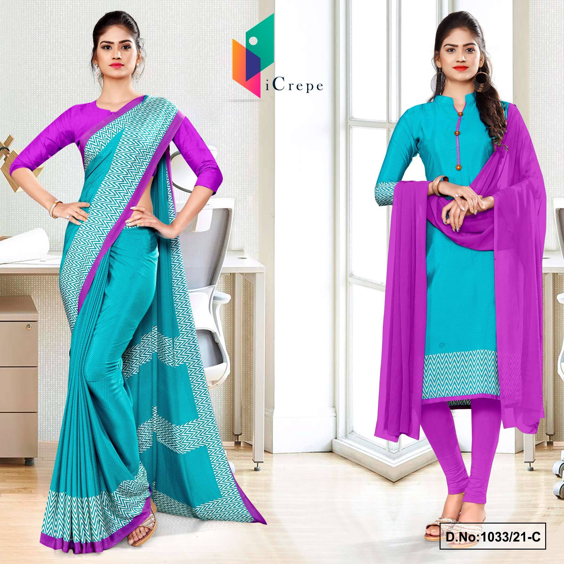 Sea Green lavender Premium Italian Silk Crepe Saree Salwar Combo for Workers Uniform Sarees