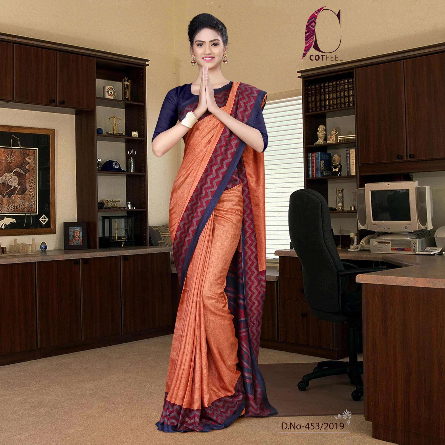 Orange and navy blue tripura cotton school uniform saree