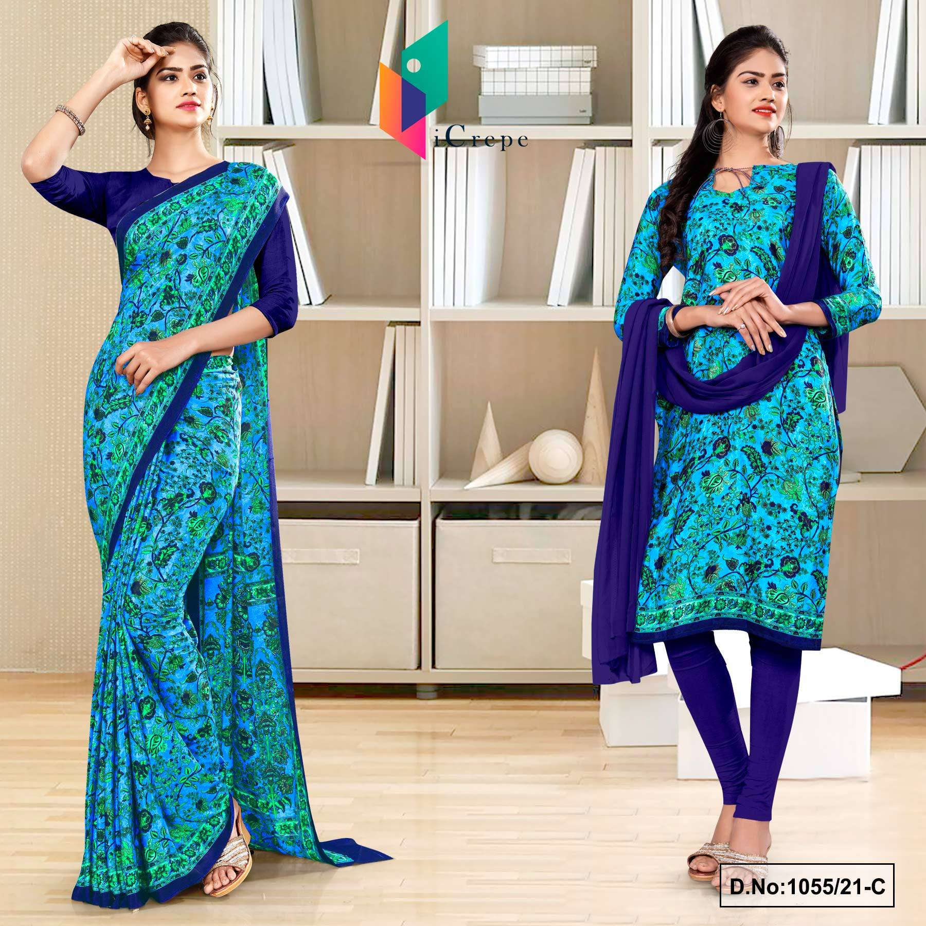 Sky Blue Navy Blue Flower Print Premium Italian Silk Crepe Uniform Saree Chudidar Combo for Industrial Employees