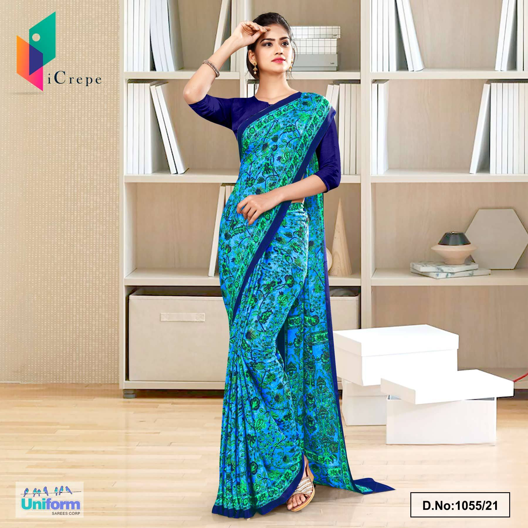 Sky Blue Navy Blue Flower Print Premium Italian Silk Crepe Uniform Sarees for Industrial Employees