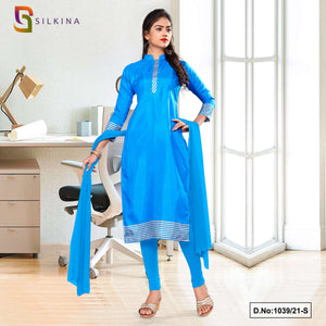 Sky Blue Plain Border Premium Polycotton Raw Silk Salwar Kameez for Hotel Uniform Sarees