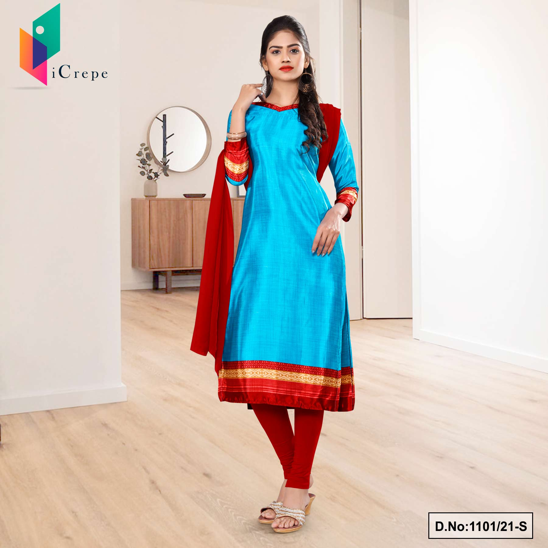 Sky Blue Red Premium Italian Silk Crepe Uniform Salwar Kameez for Hospital Staff