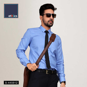 Solid Blue Mens Corporate Uniform Shirts for Industrial Workforce