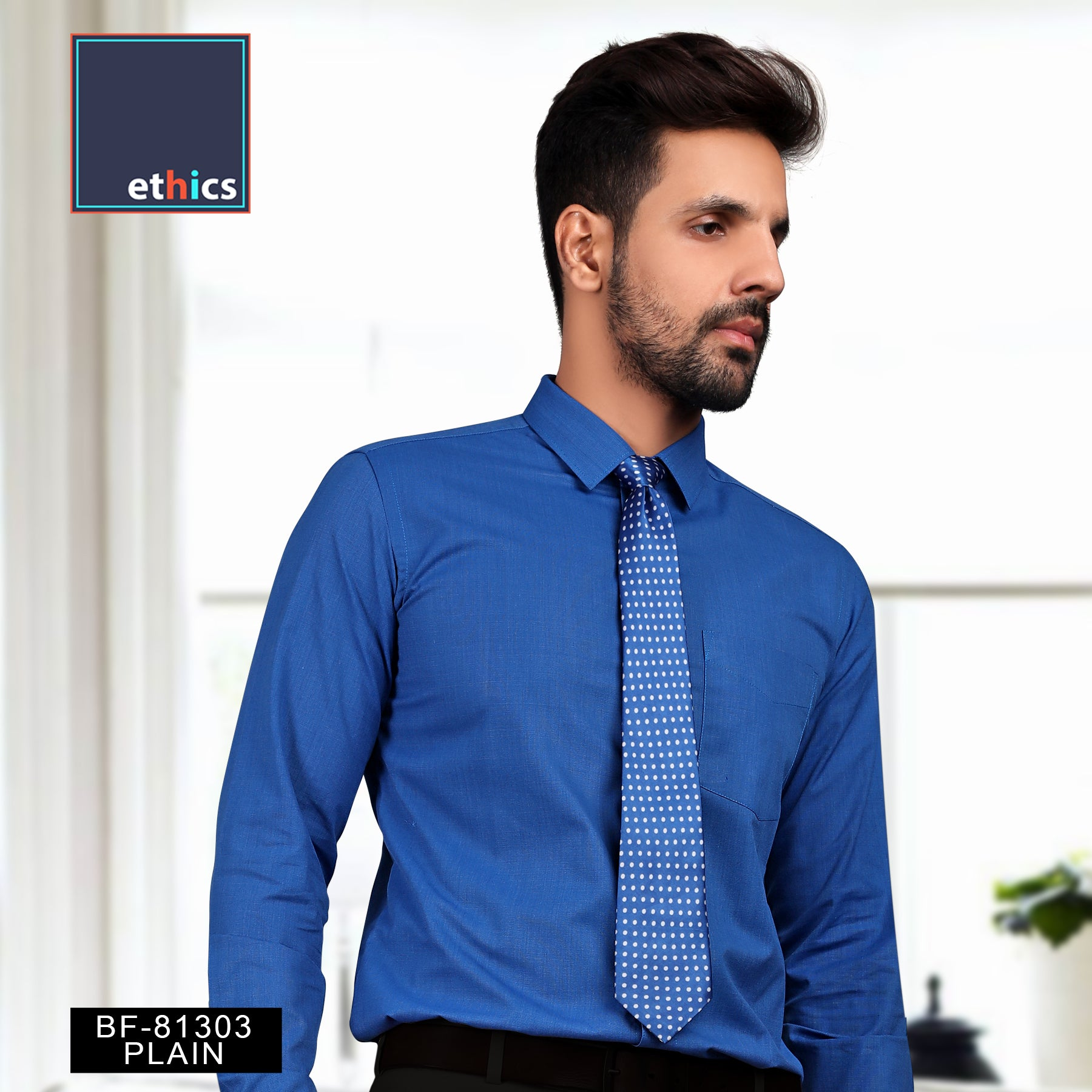 Men's Cotton Unstitched Shirt Fabric In Blue Colour
