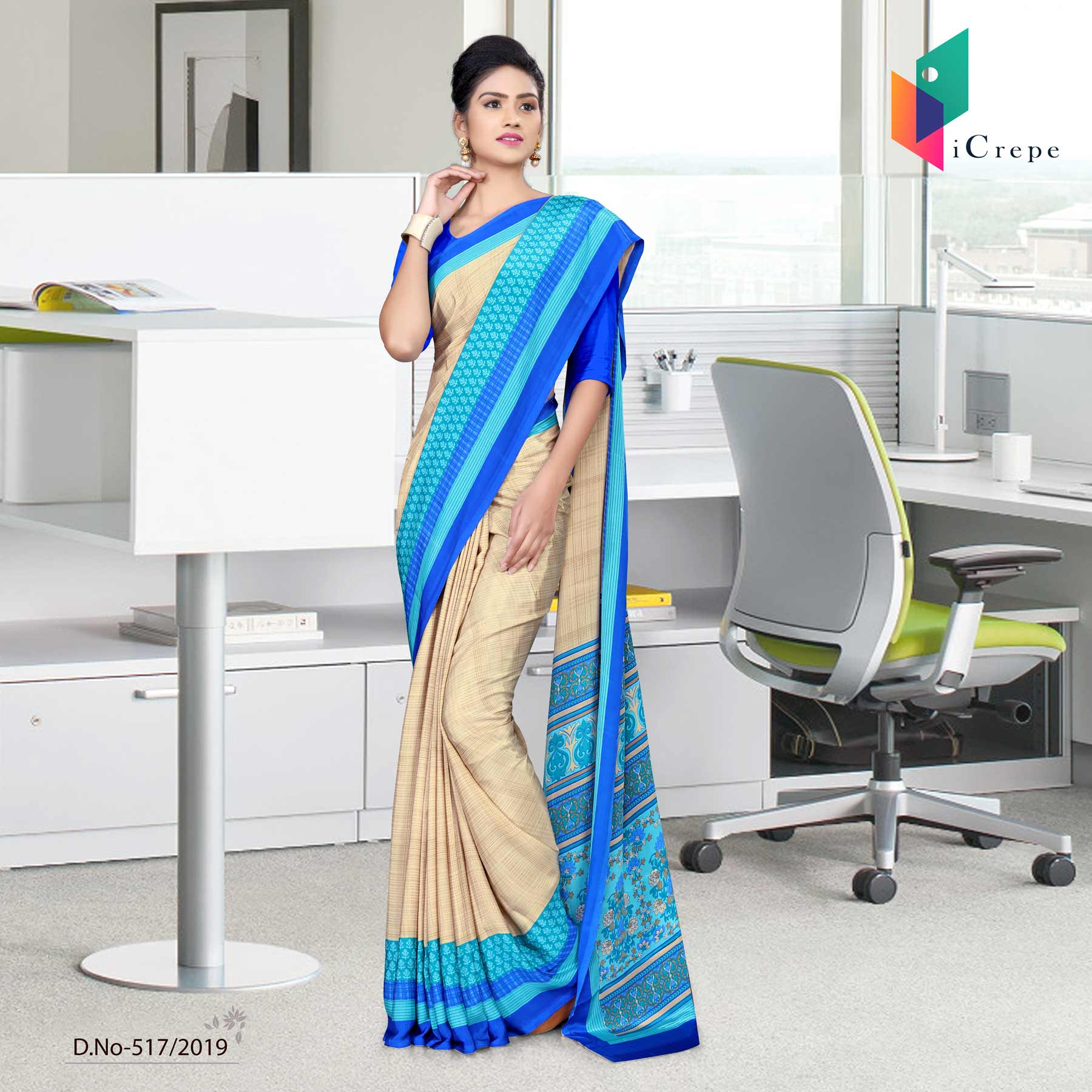 Brown and blue italian crepe silk staff uniform sarees
