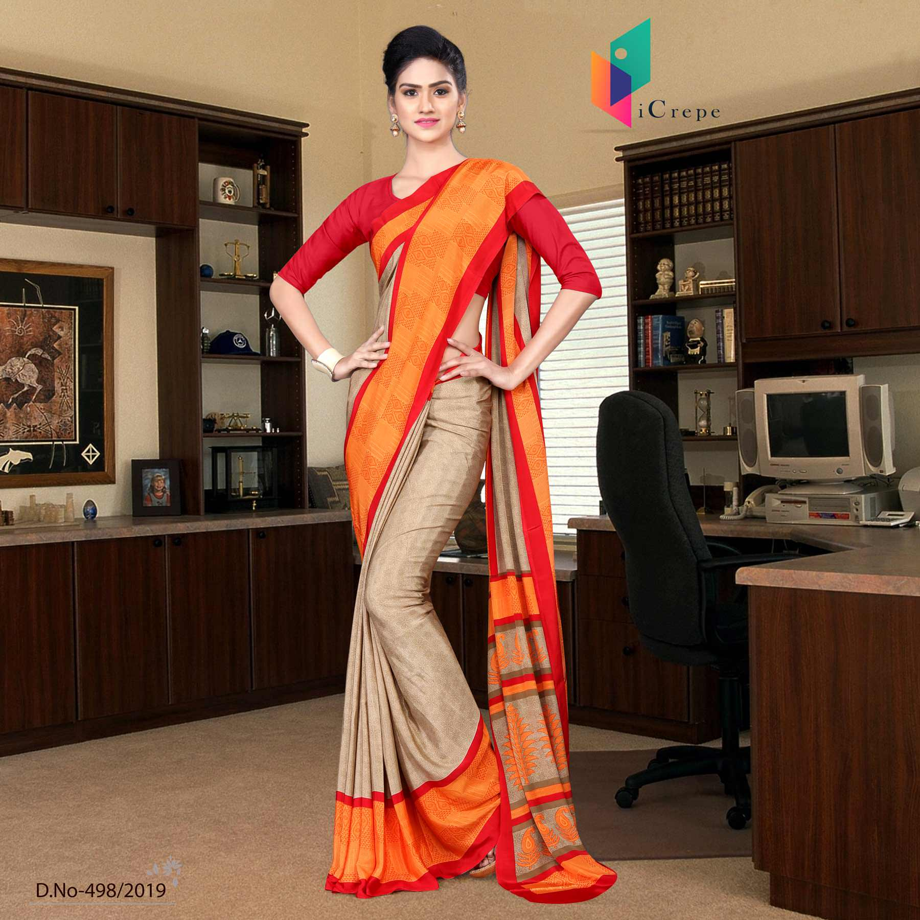 Brown and red italian crepe silk house keeping uniform saree