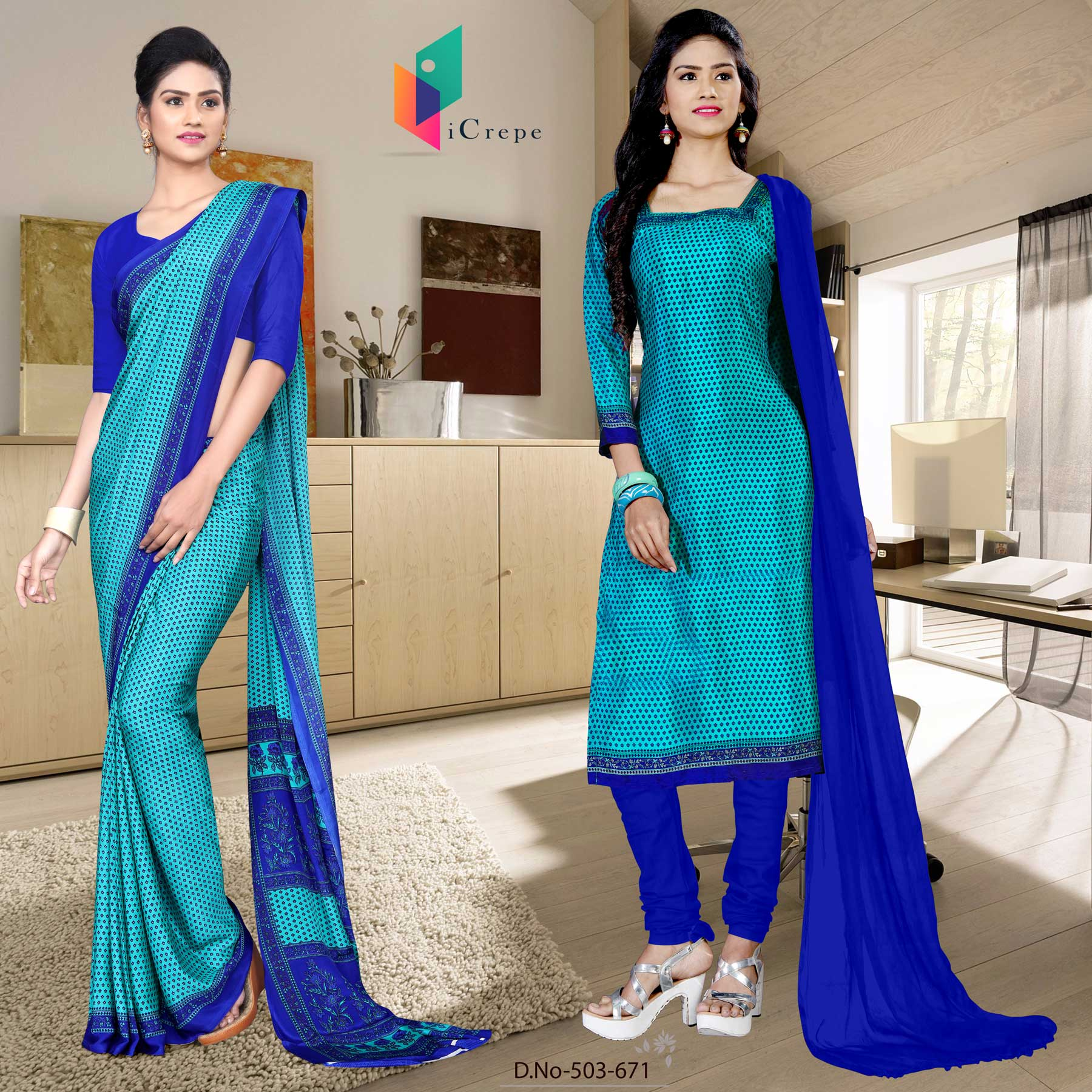 Sky blue and blue italian crepe silk fancy uniform saree salwar combo