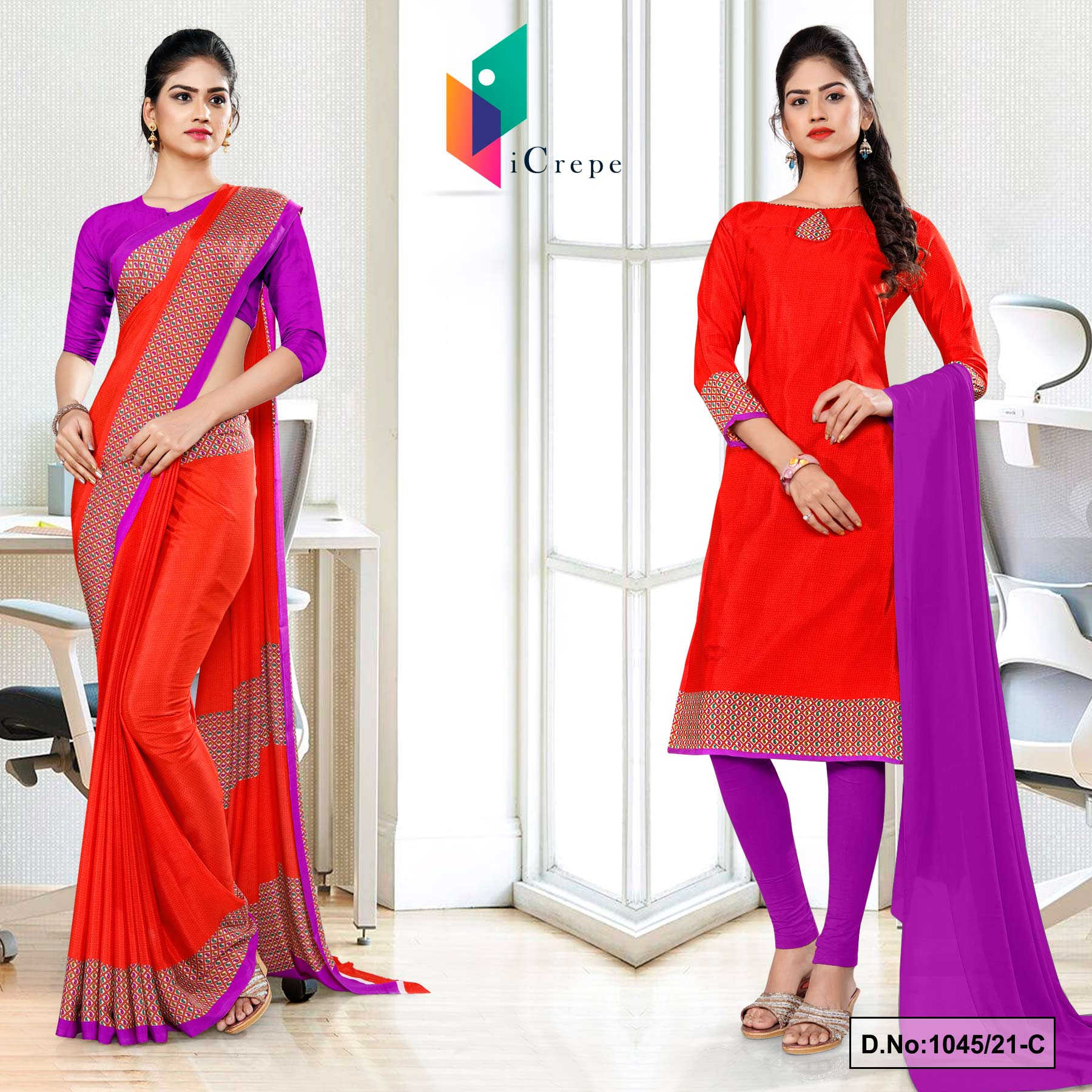 Tomato Lavender Premium Italian Silk Crepe Uniform Sarees Salwar Combo for Office Wear