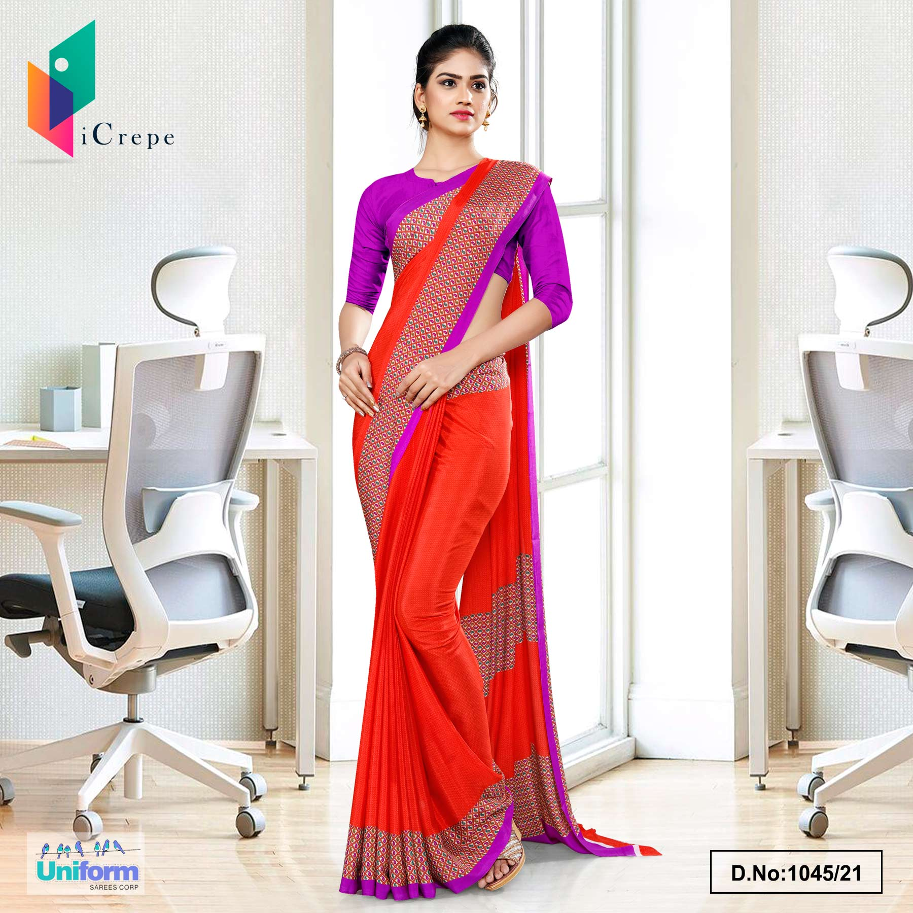 Tomato Lavender Premium Italian Silk Crepe Uniform Sarees for Office Wear