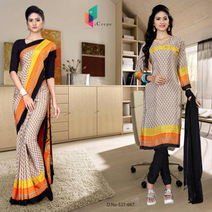 Brown and black italian crepe silk college uniform saree salwar combo