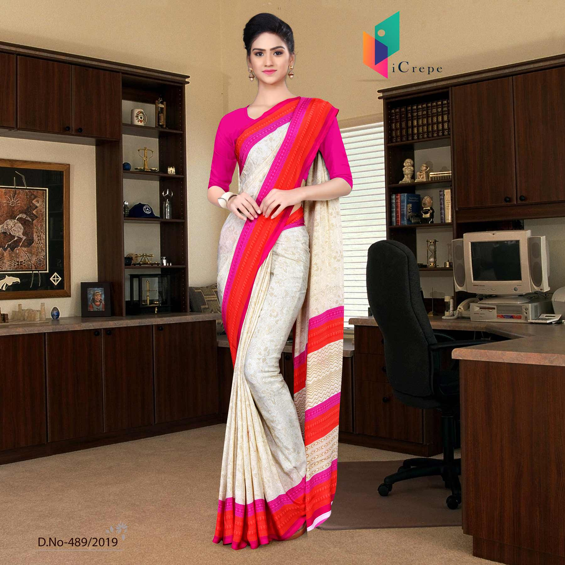 Off white and pink italian crepe silk worker uniform saree