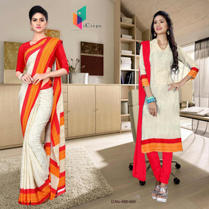 Off white and red italian crepe silk teachers uniform saree salwar combo