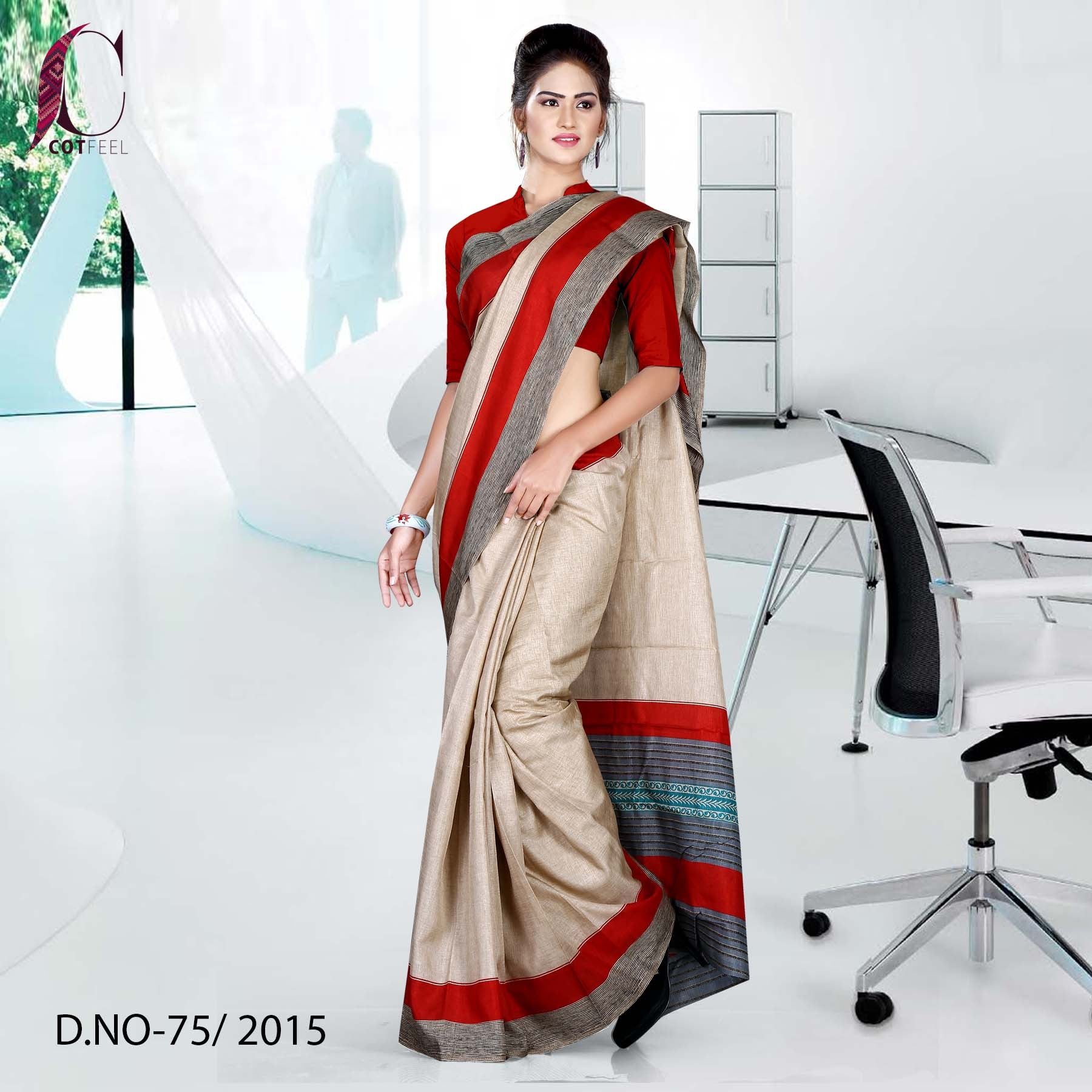 Maroon and Beige Tripura Cotton Uniform Saree