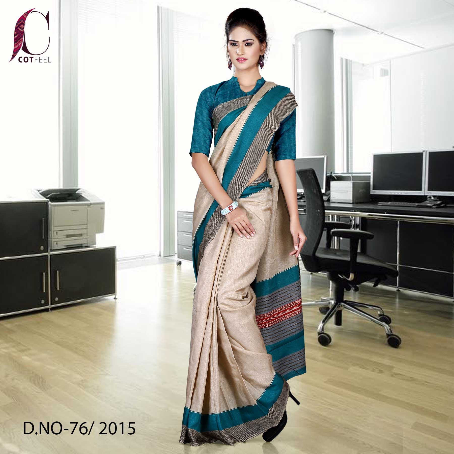 Green and Beige Tripura Cotton Uniform Saree
