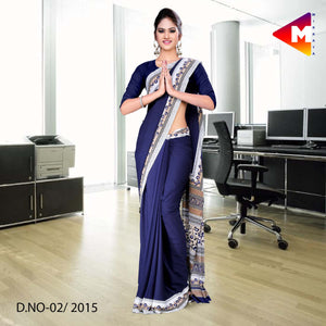 Navy blue Georgette uniform saree