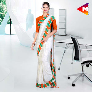 White with tricolour border georgette uniform saree Independence Day Special