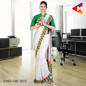 Tricolour border georgette uniform saree Independence Day Special