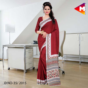 Maroon georgette uniform saree
