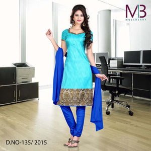 Light and dark blue mulberry silk uniform salwar kameez