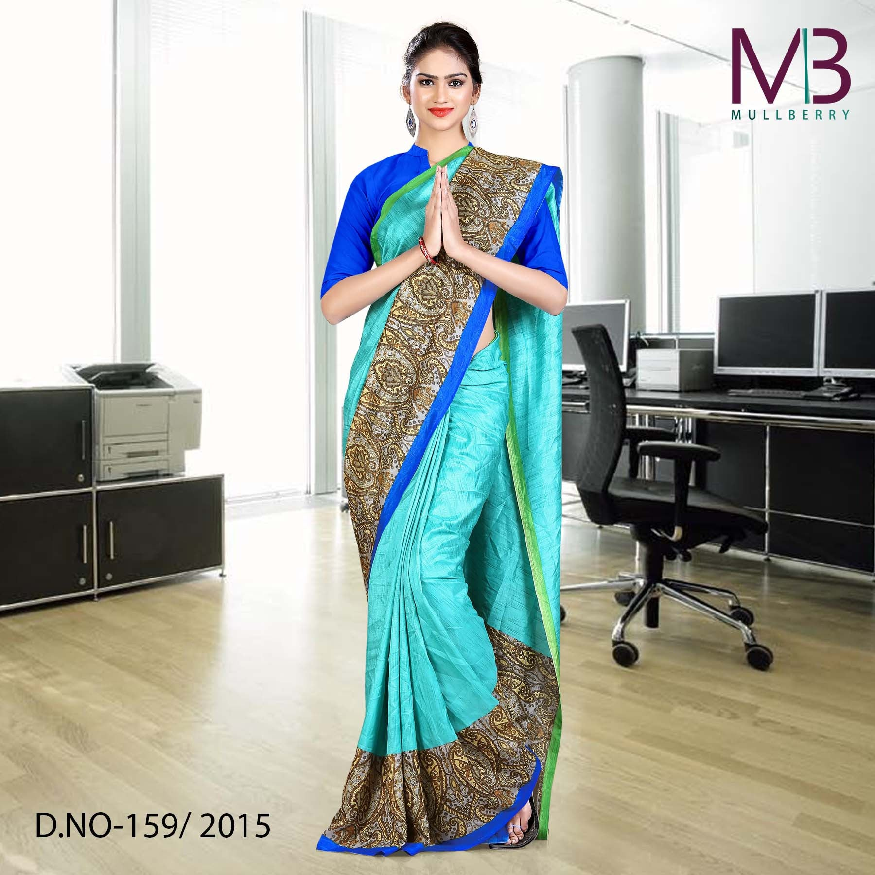 Blue mulberry silk uniform saree