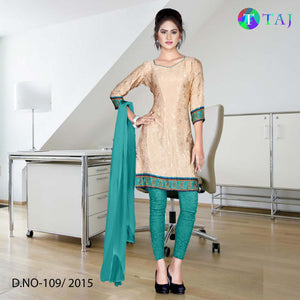 Green and beige jacquard crepe uniform salwar kameez