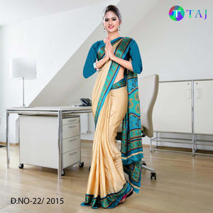 Blue green and beige jacquard crepe uniform saree