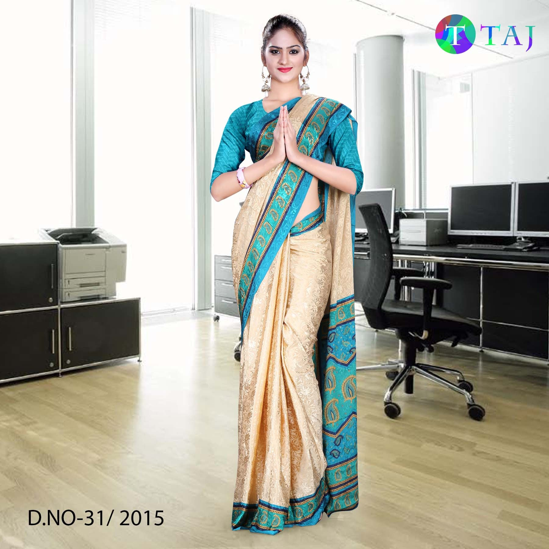 Green and beige jacquard crepe uniform saree