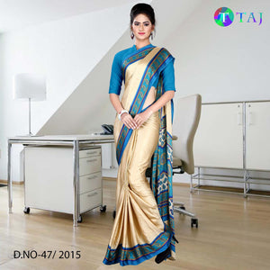 Blue and beige jacquard crepe uniform saree