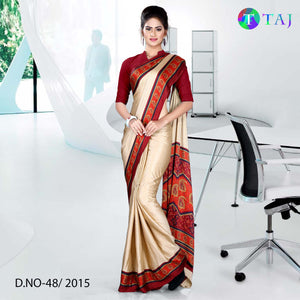 Beige with maroon border jacquard crepe uniform saree