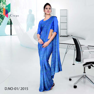 Royal blue Italian crepe uniform saree