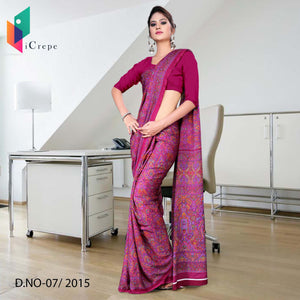 Magenta Italian crepe uniform saree