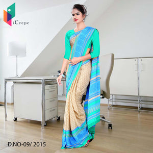 Beige and sea green Italian crepe uniform saree