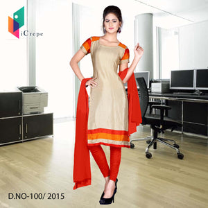 Beige and Red Italian crepe uniform salwar kameez