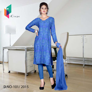 Royal blue Italian crepe uniform salwar kameez