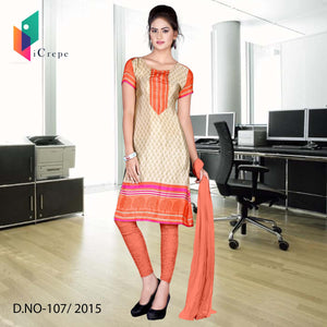 Beige and orange Italian crepe uniform salwar kameez